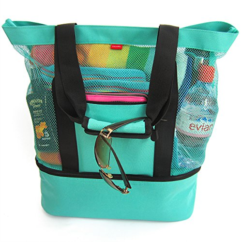 Aruba Mesh Beach Tote Bag with Zipper Top and Insulated Picnic Cooler (Turquoise)