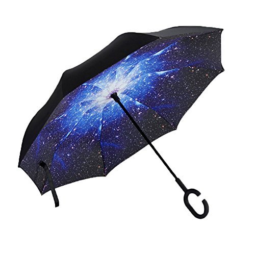 Aweoods Inverted Umbrella Windproof Reverse Folding Double Layer Travel Cars Umbrella (Starry Sky)