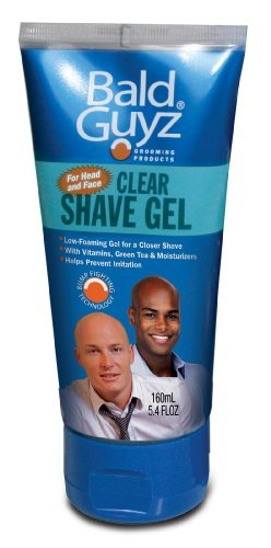 Clear Shave Gel for Head and Face by Bald Guyz, 5.4 Ounce