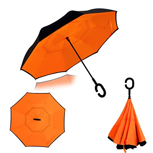 Double Layer Wind Proof,UV Proof Reverse Folding Inverted Umbrella Travel Umbrella with C Shape Handle and Carrying Bag-Orange