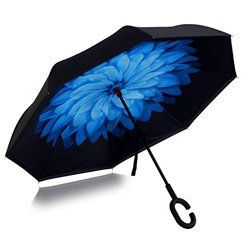 Double Layer Wind Proof,UV Proof Reverse Folding Inverted Umbrella Travel Umbrella with C Shape Handle and Carrying Bag-Blue Daisy