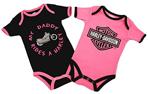 Harley-Davidson Baby Girls Daddy Rides A Harley Creeper 2 Pack 1103052