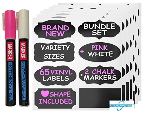 KitChenverse Chalkboard Labels Markers Complete Bundle: 65 Premium Variety Sizes + 2 Erasable White and Pink 3MM Chalk Markers - The BEST Hearts Large Medium Small for Home Pantry Storage Office