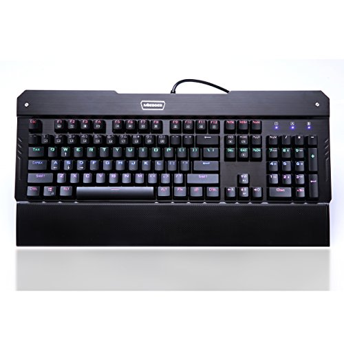 Mileagea Mechanical Eagle X-7300 Keyboard Rainbow LED Backlit 104 Keys Mechanical Gaming Keyboard with 7 Adjust Colors Cherry MX Blue