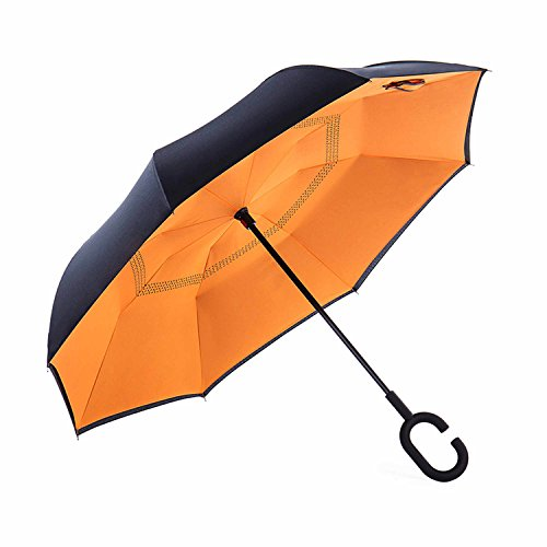 NewSight Reverse/Inverted Double-Layer Waterproof Straight Umbrella, Self-Standing & C-Shape Handle & Carrying Bag for Free Hands, Inside-Out Folding for Car Use (Orange)