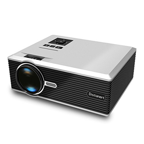 Portable Projector, Distianert Video Projector Home Theater Projector HD Projector Outdoor/Indoor Projector Support 1080P via USB TV Laptop Game Android iPad iPhone for Home Cinema Theater