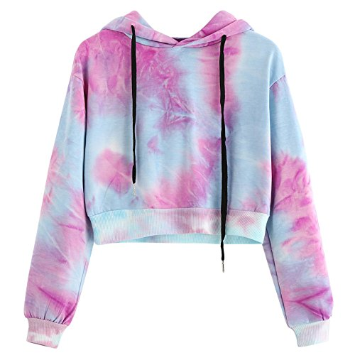 50c4f4b1e0afd8 Tanhangguan Women Colorful Printing Hoodie Sweatshirt Crop Top Ladies Long  Sleeve Shirt Jumper Pullover Tops Blouse for women Teens on Sale Clearance  ...