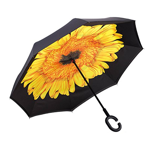 Ylovetoys Unisex Adult Double Layer Folding UV Proof and Windproof Inverted Umbrella with C-shaped Hand for Car Outdoor, Yellow Flower